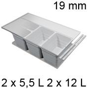 Mülleimerset, KB 900 / NL 400 / H 220 mm 19er Seiten Abfalltrennsystem 900 / 400 - 19er - 2 x 5,5 + 2 x 12 L