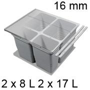 Mülltrennsystem, KB 600 / NL 500 / H 310 mm 16er Seiten Abfallsammler Set 600 / 500 - 16er - 2 x 8 + 2 x 17 L