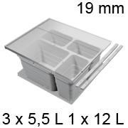 Abfalleimer Set, KB 600 / NL 400 / H 220 mm 19er Seiten Trennsystem 600 / 400 - 19er - 3 x 5,5 + 12 L