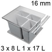 Abfalleimer Set, KB 600 / NL 400 / H 310 mm 16er Seiten Trennsystem 600 / 400 - 16er - 3 x 8 + 17 L