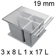 Abfalleimer Set, KB 600 / NL 400 / H 310 mm 19er Seiten Trennsystem 600 / 400 - 19er - 3 x 8 + 17 L