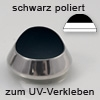 Edelstahl Minipuffer, schwarz poliert zum UV-Verkleben, Ø 20 mm