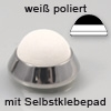 Edelstahl Minipuffer, weiß poliert mit Selbstklebepad, Ø 20 mm