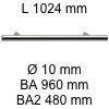 Griff i-200 Länge 1024 mm L 1024 / BA 960 / BA2 480 / Ø 10 mm