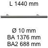 Griff i-200 Länge 1440 mm L 1440 / BA 1376 / BA2 688 / Ø 10 mm