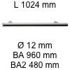 Griff i-200 Länge 1024 mm L 1024 / BA 960 / BA2 480 / Ø 12 mm