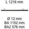 Griff i-200 Länge 1216 mm L 1216 / BA 1152 / BA2 576 / Ø 12 mm