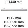 Griff i-200 Länge 1440 mm L 1440 / BA 1376 / BA2 688 / Ø 12 mm