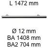 Griff i-200 Länge 1472 mm L 1472 / BA 1408 / BA2 704 / Ø 12 mm