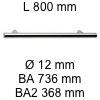 Griff i-200 Länge 800 mm L 800 / BA 736 / BA2 368 / Ø 12 mm