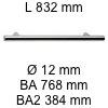 Griff i-200 Länge 832 mm L 832 / BA 768 / BA2 384 / Ø 12 mm