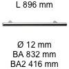 Griff i-200 Länge 896 mm L 896 / BA 832 / BA2 416 / Ø 12 mm