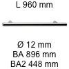 Griff i-200 Länge 960 mm L 960 / BA 896 / BA2 448 / Ø 12 mm