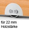 Rolleinsatz On-Off Rad-Ø 60 mm, für Holzdicke 22 mm Möbelrolle + Feststellschalter, für 22 mm Dicke
