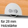 Rolleinsatz On-Off Rad-Ø 60 mm, für Holzdicke 28 mm Möbelrolle + Feststellschalter, für 28 mm Dicke