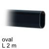 Schrankrohr Edelstahl schwarz, oval B 15 x H 30 x L 2000 mm Edelstahlrohr oval B 15 x H 30 - L 2 m