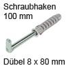Befestigungs-Set für Schrankaufhänger - Länge 100 mm Schraubhacken L 100 mm mit Dübel Ø 8 mm