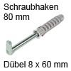 Befestigungs-Set für Schrankaufhänger - Länge 80 mm Schraubhacken L 80 mm mit Dübel Ø 8 mm