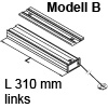 Bremsklappenhalter mit Seilzug, Ausführung links Modell B lichte Korpustiefe min. 310 mm, links