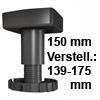 Sockelverstellfuß Set Korrekt 150, schwarz Ø 80 mm Sockelf. Gleiter Kst. schw. H 139-175 mm / 80