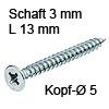 Senkkopfschraube Vollgewinde verzinkt Ø 3 (5) mm L 13 mm Hospa-Schraube Seko verzinkt 5 / 3 x 13 mm