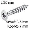 Senkkopfschraube verzinkt Ø 3,5 mm L 25 mm Spax Seko IS15 verz. 7 / 3.5 x 25 mm