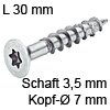 Senkkopfschraube verzinkt Ø 3,5 mm L 30 mm Spax Seko IS15 verz. 7 / 3.5 x 30 mm