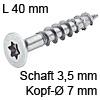Senkkopfschraube verzinkt Ø 3,5 mm L 40 mm Spax Seko IS15 verz. 7 / 3.5 x 40 mm
