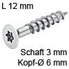 Senkkopfschraube verzinkt Ø 3 mm L 12 mm Spax Seko IS10 verz. 6 / 3 x 12 mm