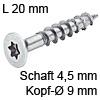 Senkkopfschraube verzinkt Ø 4,5 mm L 20 mm Spax Seko IS20 verz. 9 / 4.5 x 20 mm