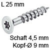 Senkkopfschraube verzinkt Ø 4,5 mm L 25 mm Spax Seko IS20 verz. 9 / 4.5 x 25 mm