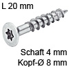 Senkkopfschraube verzinkt Ø 4 mm L 20 mm Spax Seko IS20 verz. 8 / 4 x 20 mm