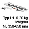 T60B3330 TIP-ON BLUMOTION Einheit, Typ L1 Set TipOn Blumotion bis 20 kg / NL 350-600 mm, R735