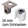 Tab 18 Verbinder mit Verriegelung, ab 26 mm Dicke zum Schrauben Tablarverriegelung Tab 18 Schraub. vernickelt 26 mm