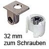 Tab 18 Verbinder mit Verriegelung, ab 32 mm Dicke zum Schrauben Tablarverriegelung Tab 18 Schraub. vernickelt 32 mm
