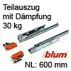560H6000B Vollauszug mit Dämpfung Tandem 560H + Blumotion, 30 kg / NL 600 mm