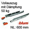 566H6000B01 Vollauszug mit Dämpfung Tandem 566H + Blumotion, 50 kg / NL 600 mm