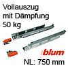 566H7500B01 Vollauszug mit Dämpfung Tandem 566H + Blumotion, 50 kg / NL 750 mm