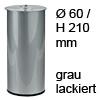 Möbelfuß H 210 / Ø 60 mm, grau lackiert Stahlfuß gr. + Gew.Loch M8 - 210/60