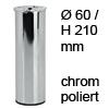 Möbelfuß H 210 / Ø 60 mm, verchromt poliert Stahlfuß chrom pol. + Gew.Loch M8 - 210/60