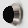 Edelstahl Tür Minidämpfer gebürstet / Gummi schwarz Wandpuffer Edelst. matt/schw. Ø 20x10 mm inkl. Klebepad + Schraube/Dübel