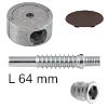 Verbinder 4er-Set, Bolzenlänge 64 mm mit brauner Abdeckkappe Exzentergehäuse / Bolzen L 64 mm / Muffe M8x15 mm / Kappe braun